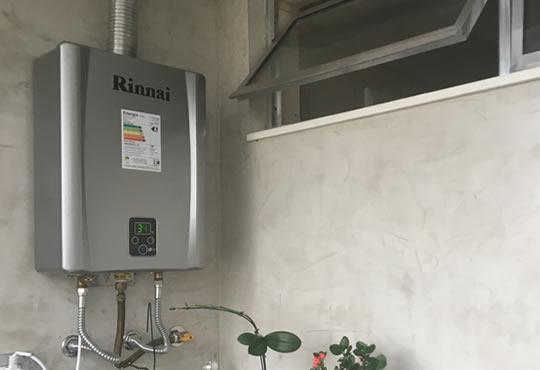 instalar um aquecedor a gás Rinnai